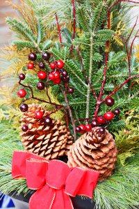 Bożonarodzeniowa aranżacja ze świerku